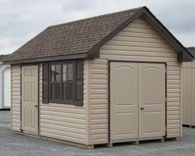 10x12 Cape Cod storage shed with vinyl siding from Pine Creek Structures