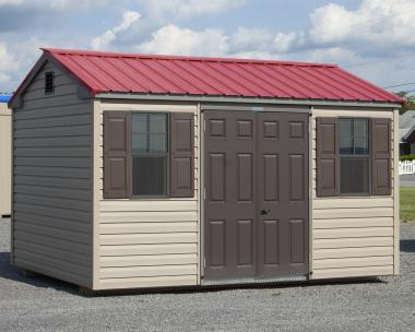 Custom Built 8x13 Peak Style Storage Shed with Vinyl Siding and Metal Roof