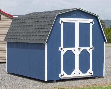 8x10 Economy Style Mini Barn Storage Shed with Blue LP Siding